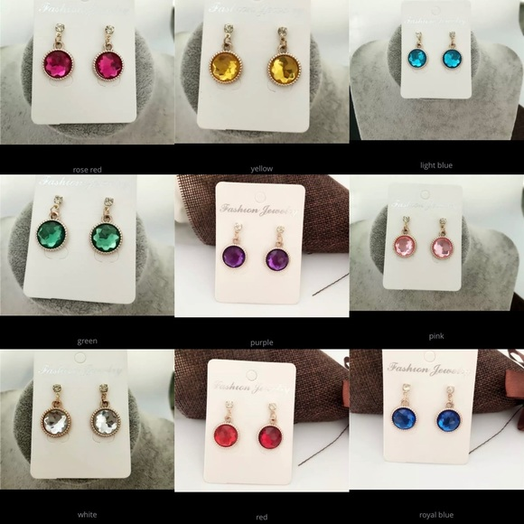 Sassy Hanger Jewelry - 9 Piece Colored Gold Toned Drop Earring Set